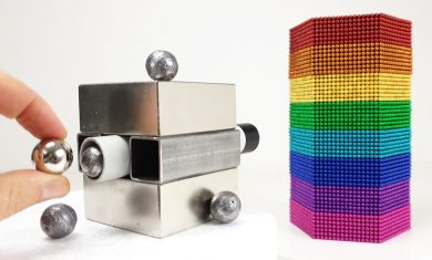 Magnetic Cannon VS Rainbow Tower out of Magnetic Balls